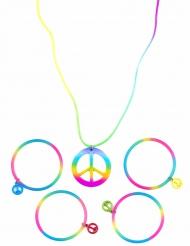 Collana e bracciali multicolor hippie per adulto