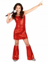 Costume disco con paillettes rosso bambina
