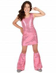 Costume disco con paillettes rosa bambina