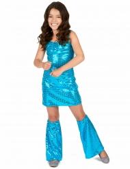 Costume disco con paillettes turchese bambina