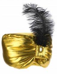 Copricapo da sultano color oro con piuma adulto