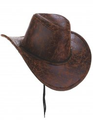 Cappello cowboy in simil pelle marrone adulto