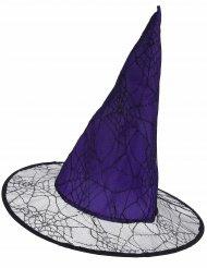 Cappello da strega viola con ragnatela adulto