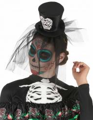 Cerchietto con mini cappello nero Dia de los muertos con velo