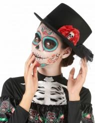Cappello nero con teschio e fiori rossi Dia de los muertos
