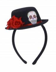Cerchietto con mini cappello nero e fiore rosso per adulto