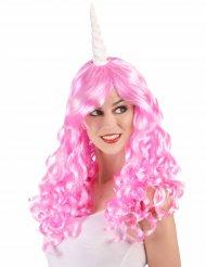 Parrucca lunga rosa da unicorno per donna