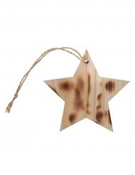 4 segnaposto stella di legno effetto bruciato