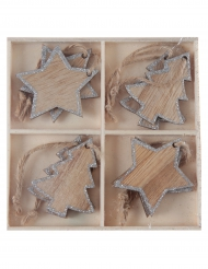 8 decorazioni Natale da appendere in legno color argento