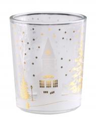 Portacandele di vetro villaggio natalizio
