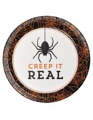 8 piattini di cartone Creep it real 18 cm Halloween