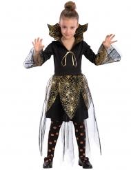 Costume vampiro con ragnatele oro e nero bambina