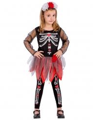Costume scheletro nero e rosso bambina