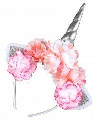Cerchietto unicorno con peonie rosa adulto