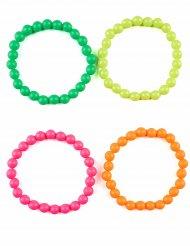 4 bracciali di perle colorati adulto
