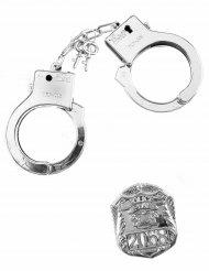 Kit poliziotto manette e distintivo adulto e bambino