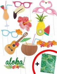 Kit photobooth Hawaii 10 pezzi