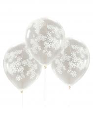 5 palloncini con coriandoli con fiocchi di neve bianchi