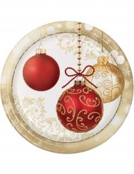 8 piatti in cartone palline di Natale 23 cm