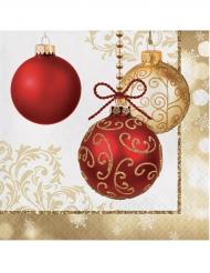 16 tovaglioli palline di Natale oro e rosso
