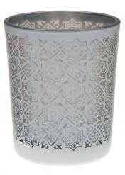 Portacandele in vetro con motivi color argento