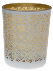 Portacandele in vetro con motivi color oro
