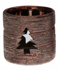 Portacandela di Natale corteccia color rame