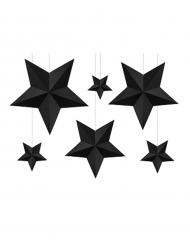 6 stelle da appendere 3D nere