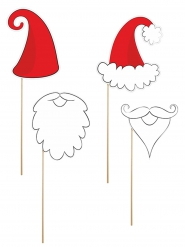 Kit photobooth 4 accessori Babbo Natale