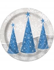 8 piattini di cartone fiocchi di neve e renne Natale 18 cm