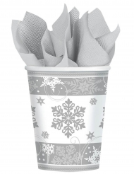 8 bicchieri di cartone fiocchi di neve argento