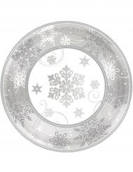 8 piattini in cartone fiocchi di neve argento 18 cm
