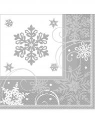16 tovaglioli di carta con fiocchi di neve argentati