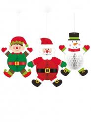 3 decorazioni 3D alveolate personaggi natalizi
