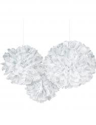 3 sfere decorative bianche con fiocchi di neve argento