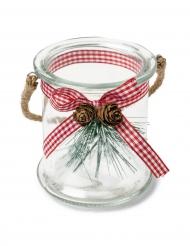 Portacandele di vetro con motivo rustico