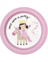 8 piatti in cartone principessa e unicorno 23 cm