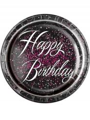 8 piatti in cartone Happy Birthday coriandoli rosa 23 cm