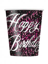 8 bicchieri di cartone Happy Birthday coriandoli rosa