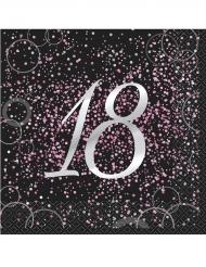 16 tovaglioli Happy Birthday 18 anni coriandoli rosa