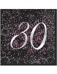16 tovaglioli Happy Birthday 30 anni coriandoli rosa