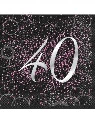 16 tovaglioli Happy Birthday 40 anni coriandoli rosa