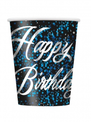 8 bicchieri di cartone Happy Birthday coriandoli blu