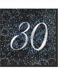 16 tovaglioli Happy Birthday 30 anni coriandoli blu
