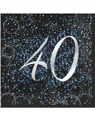 16 tovaglioli Happy Birthday 40 anni coriandoli blu