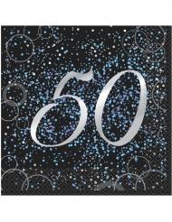 16 tovaglioli Happy Birthday 50 anni coriandoli blu