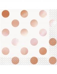 16 tovaglioli di carta a pois oro rosa