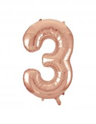 Palloncino alluminio oro rosa numero 3 - 86 cm