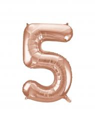 Palloncino alluminio oro rosa numero 5 - 86 cm
