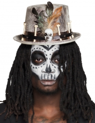 Cappello a cilindro voodoo grigio per adulto